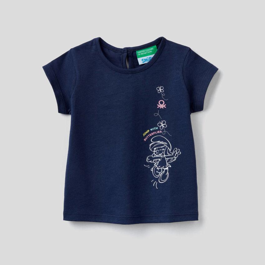 T-shirt blu scuro con stampa Puffetta