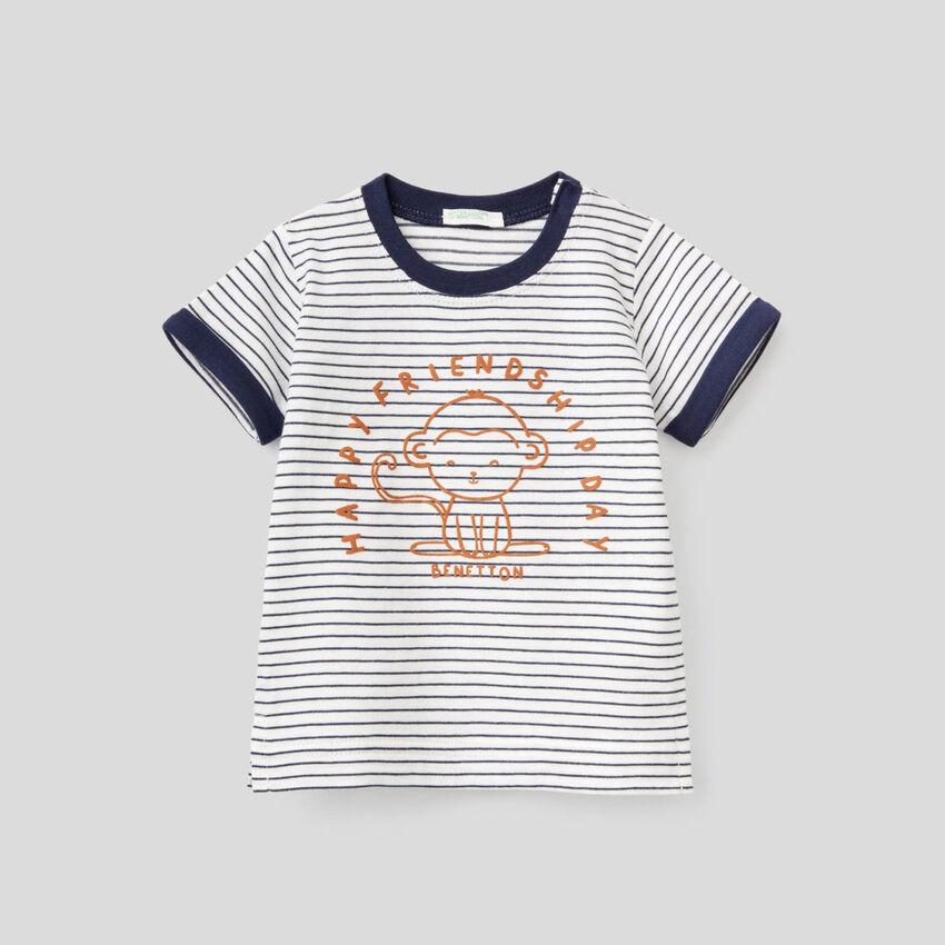 T-shirt a righe in puro cotone biologico
