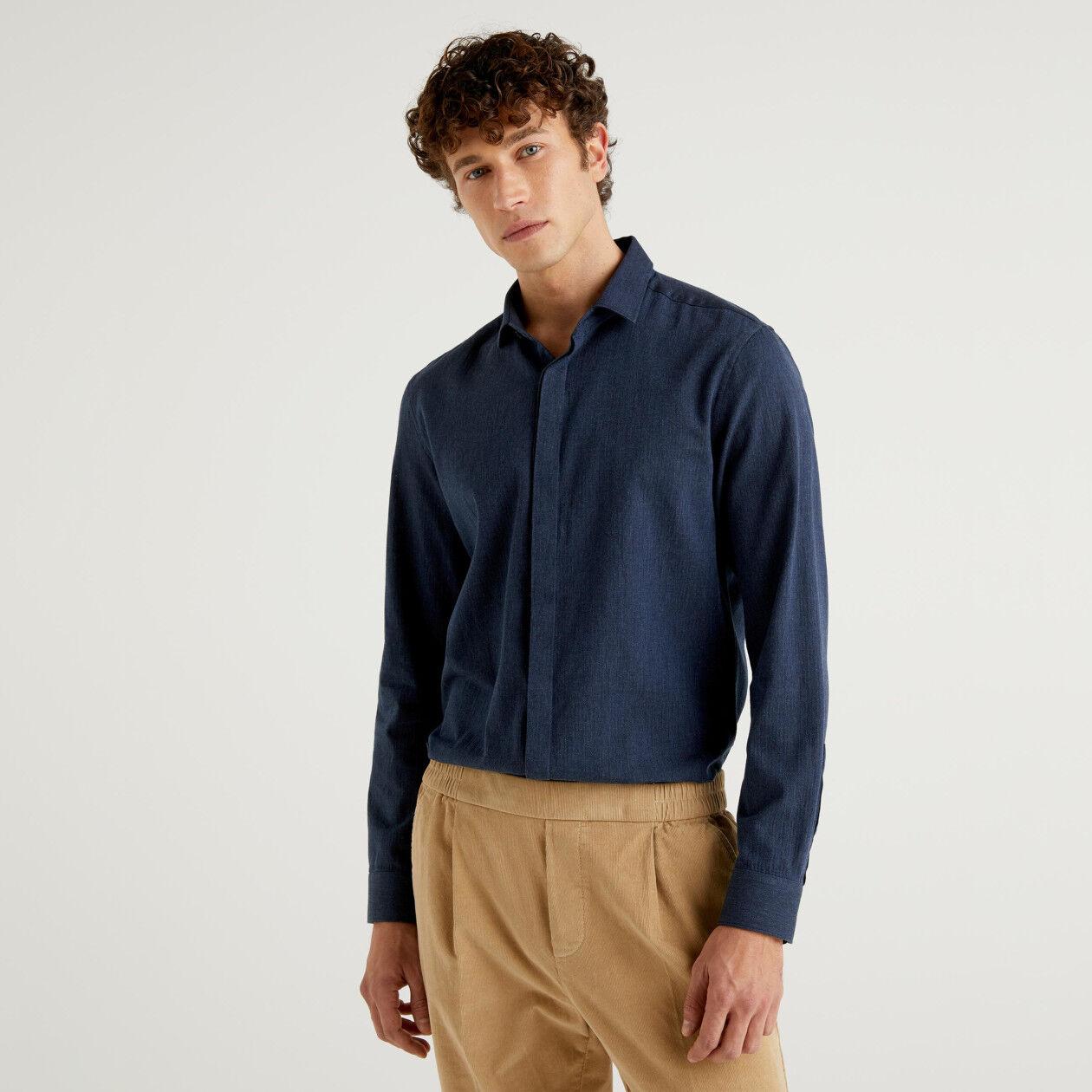 Camicia in flanella slim fit