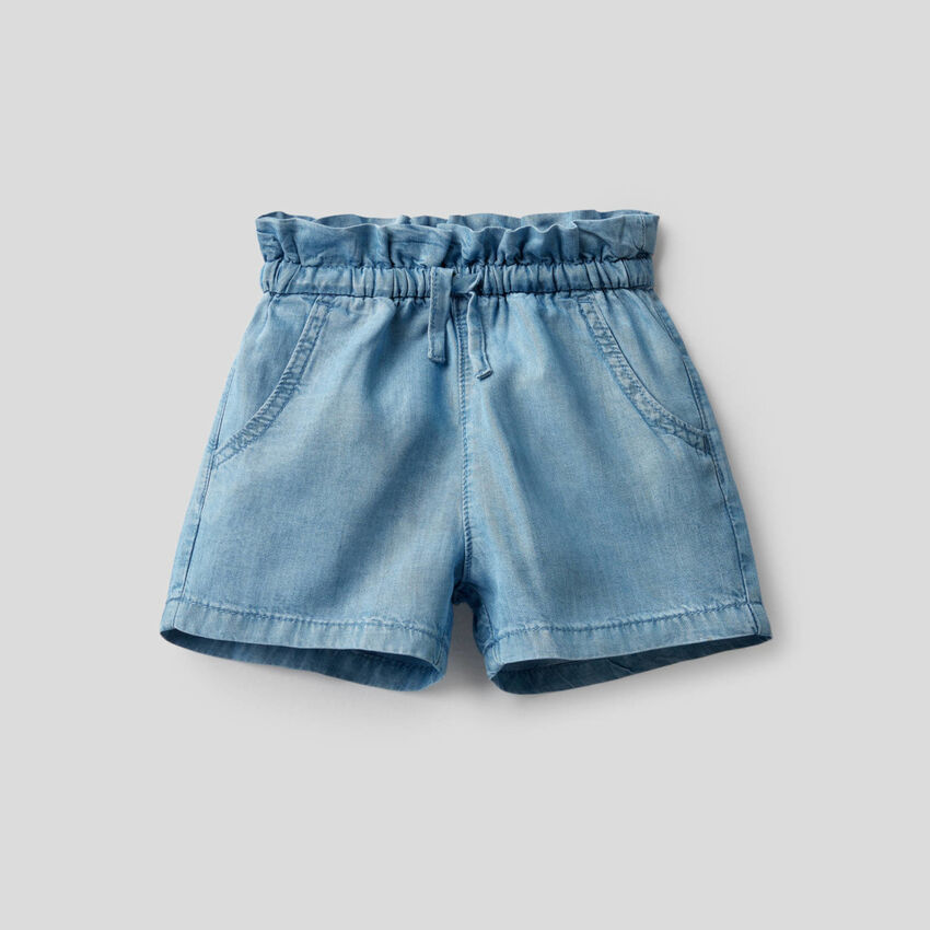 Shorts a vita alta in jeans leggero