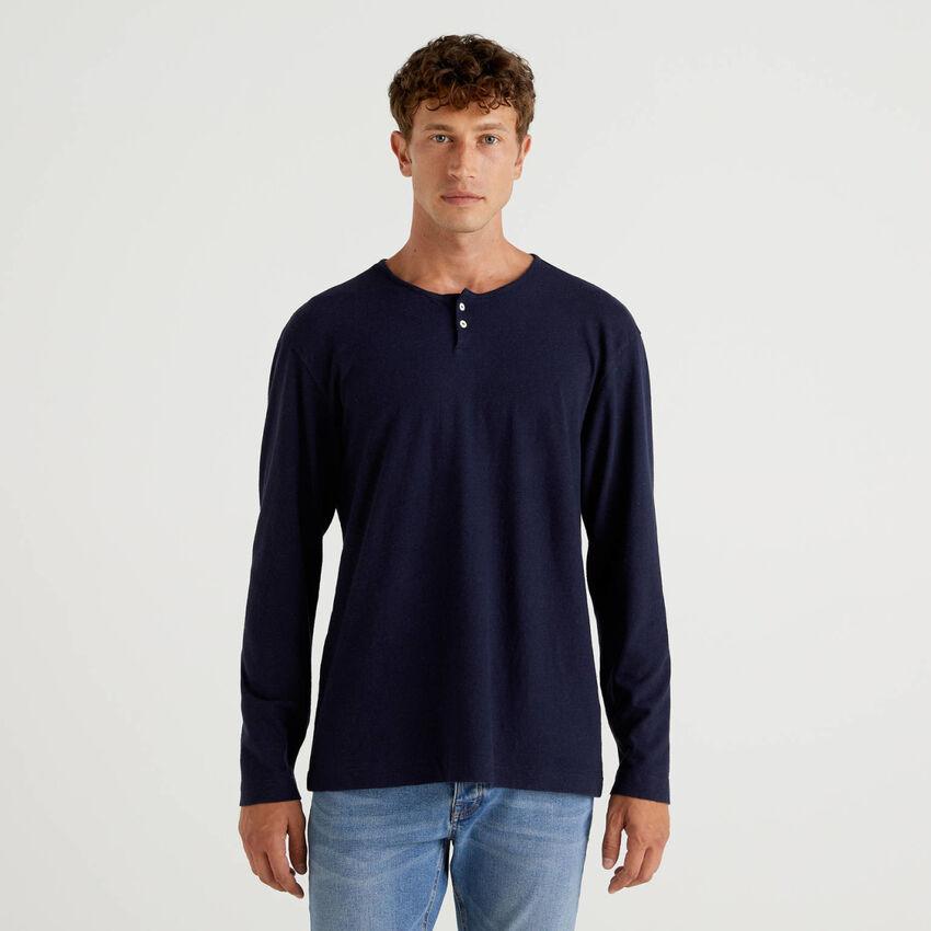 T-shirt serafino in misto lino