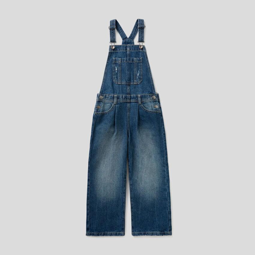Salopette in jeans 100% cotone