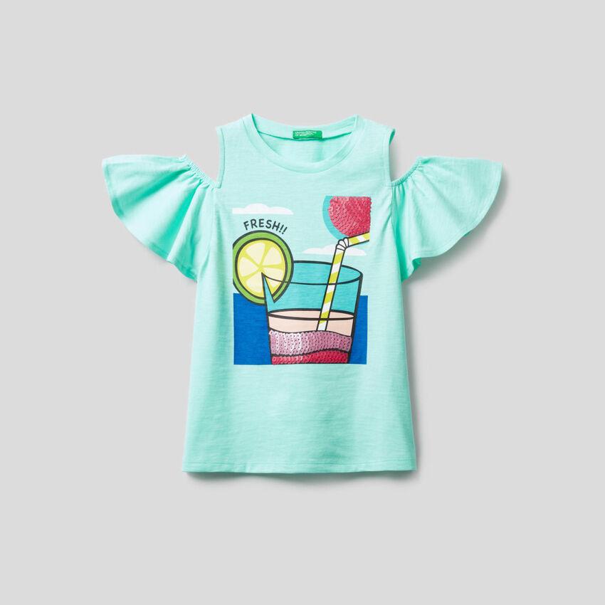 T-shirt con dettagli in paillettes