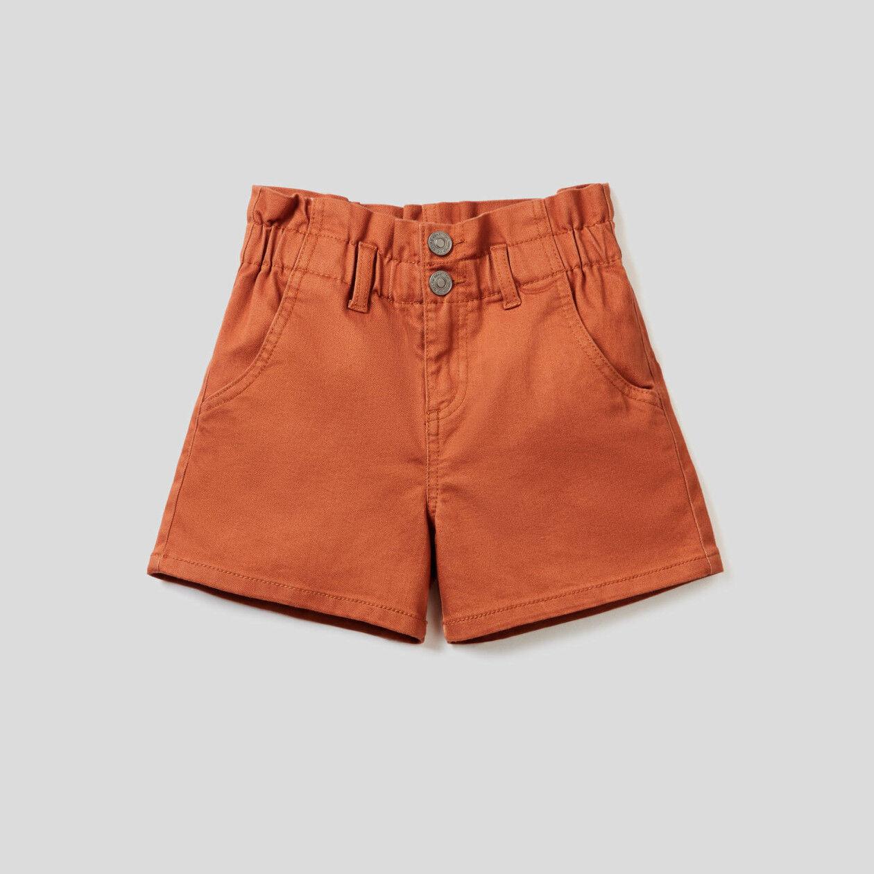 Shorts paperbag in denim color stretch