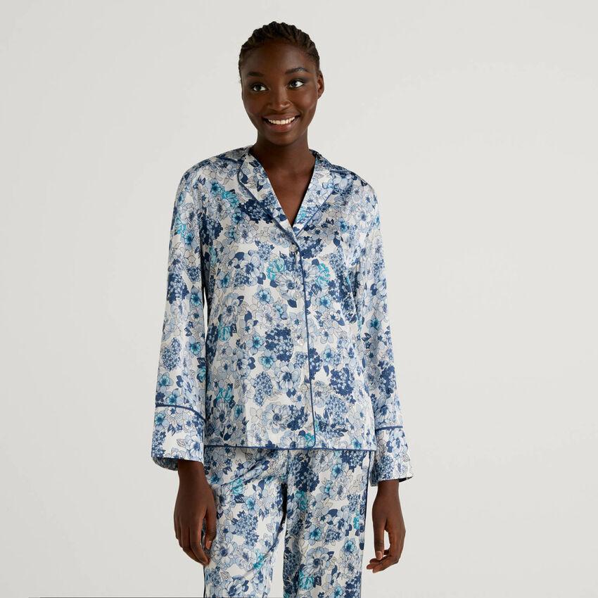 Blusa da pigiama con stampa floreale