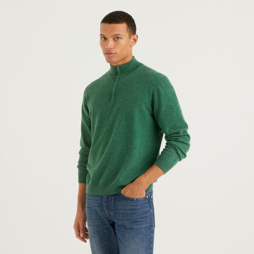 Maglia zippata verde scuro in 100% lana vergine