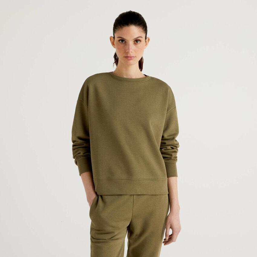 Felpa in misto cotone verde militare