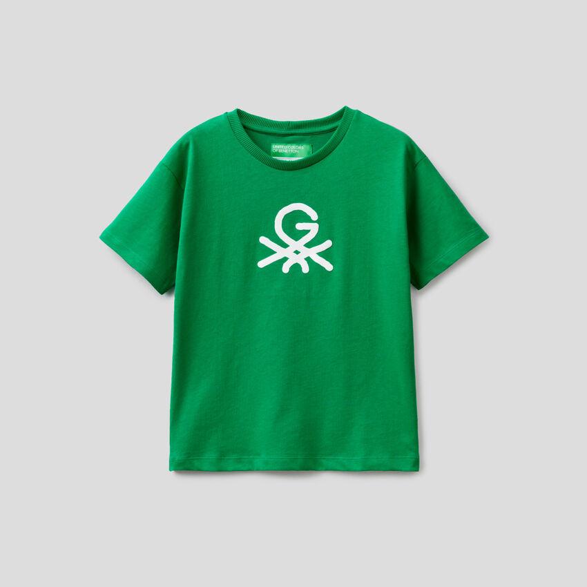 T-shirt verde unisex con stampa by Ghali