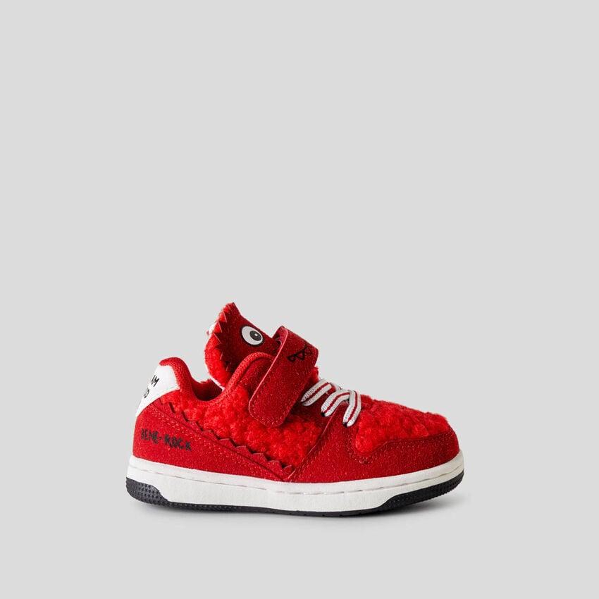 Sneakers con inserto in pile orsetto