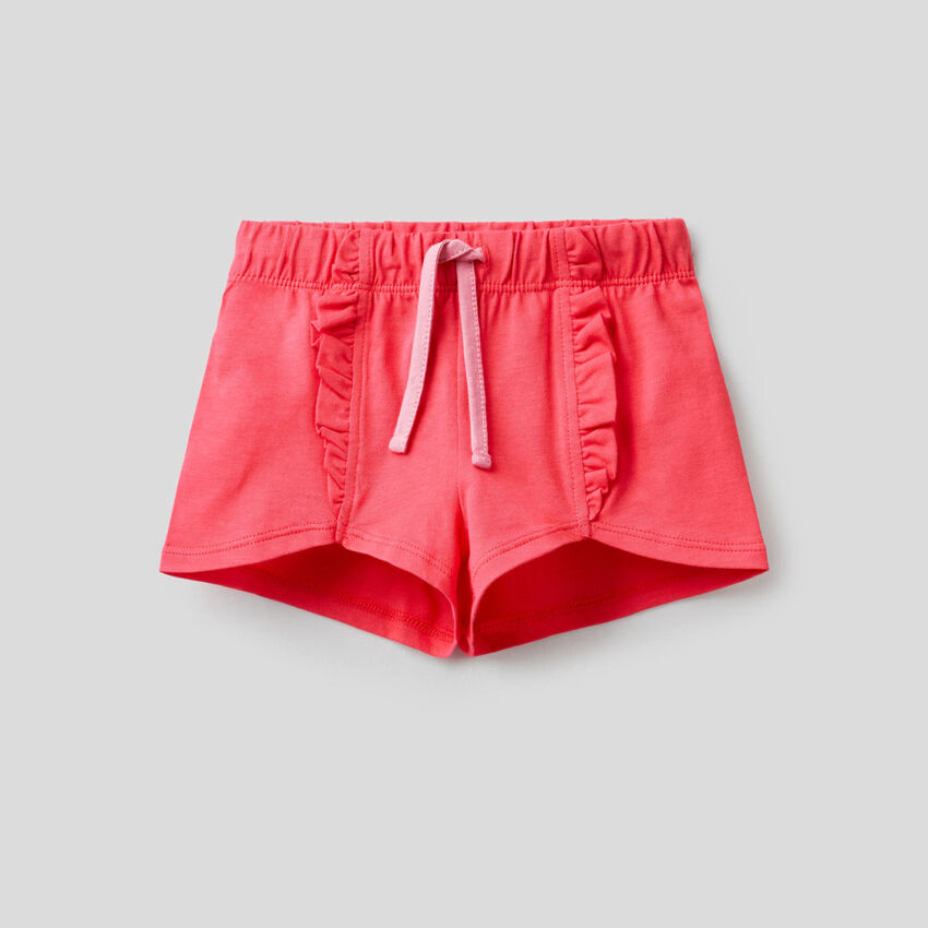 Shorts in 100% cotone con rouches