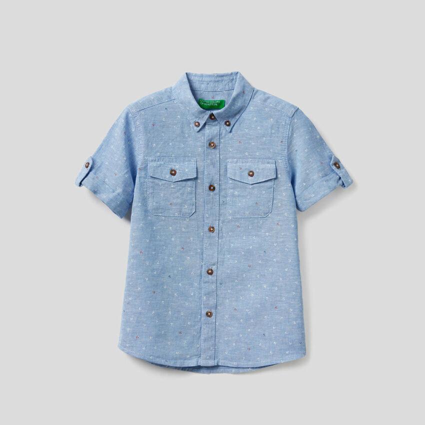 Camicia sportiva in cotone misto lino