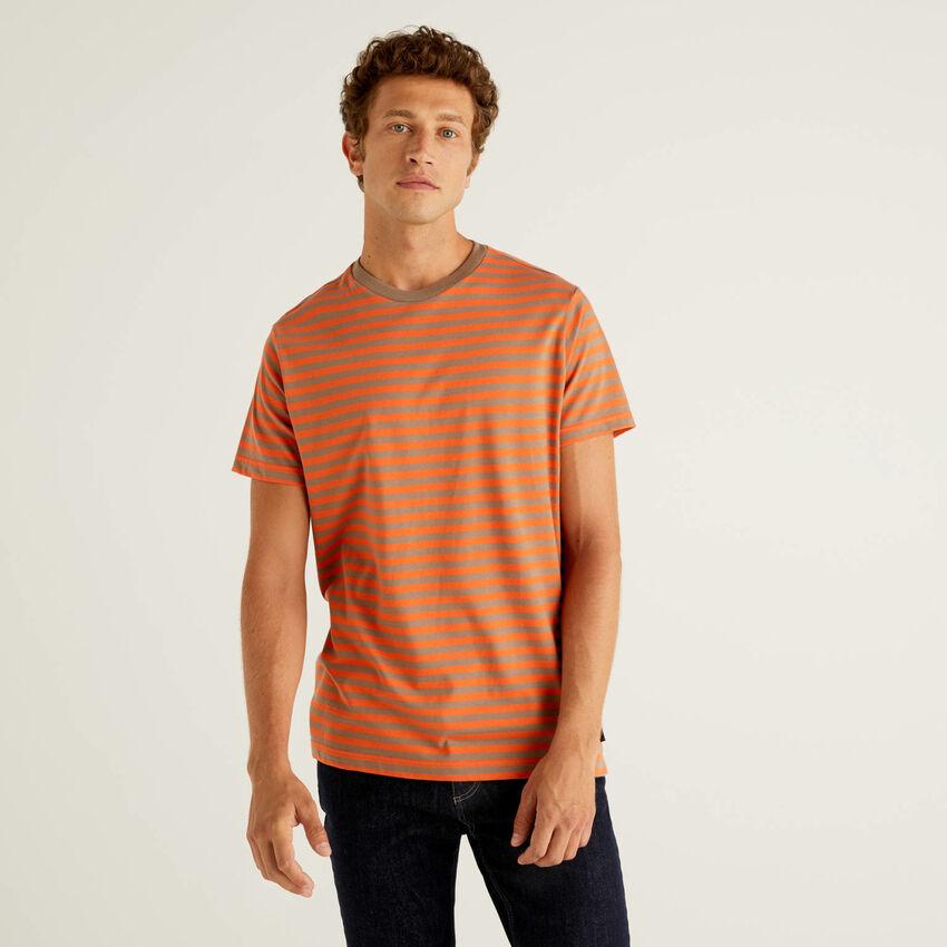 T-shirt a righe in 100% cotone bio