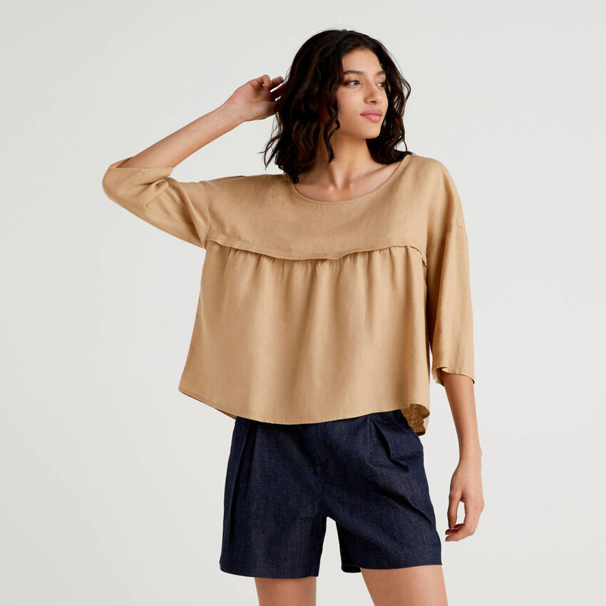Blusa 100% lino con balza