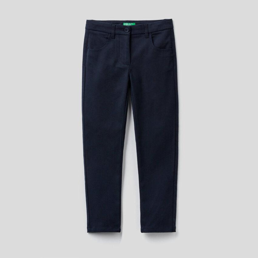 Pantaloni skinny fit in flanella stretch