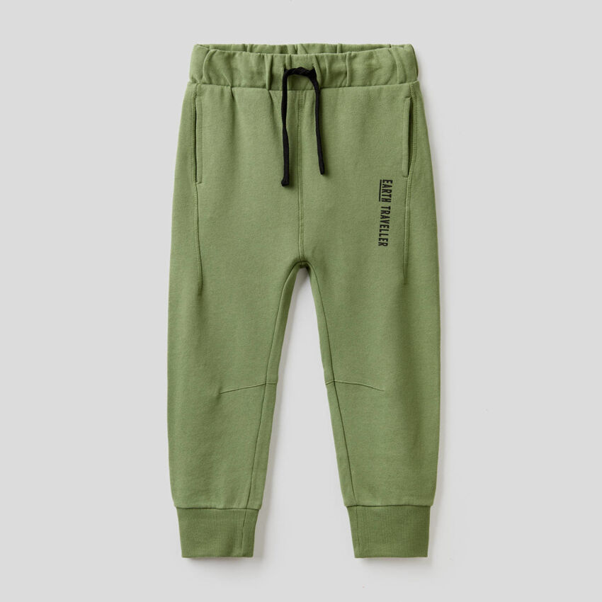 Pantaloni verde militare in felpa 100% cotone