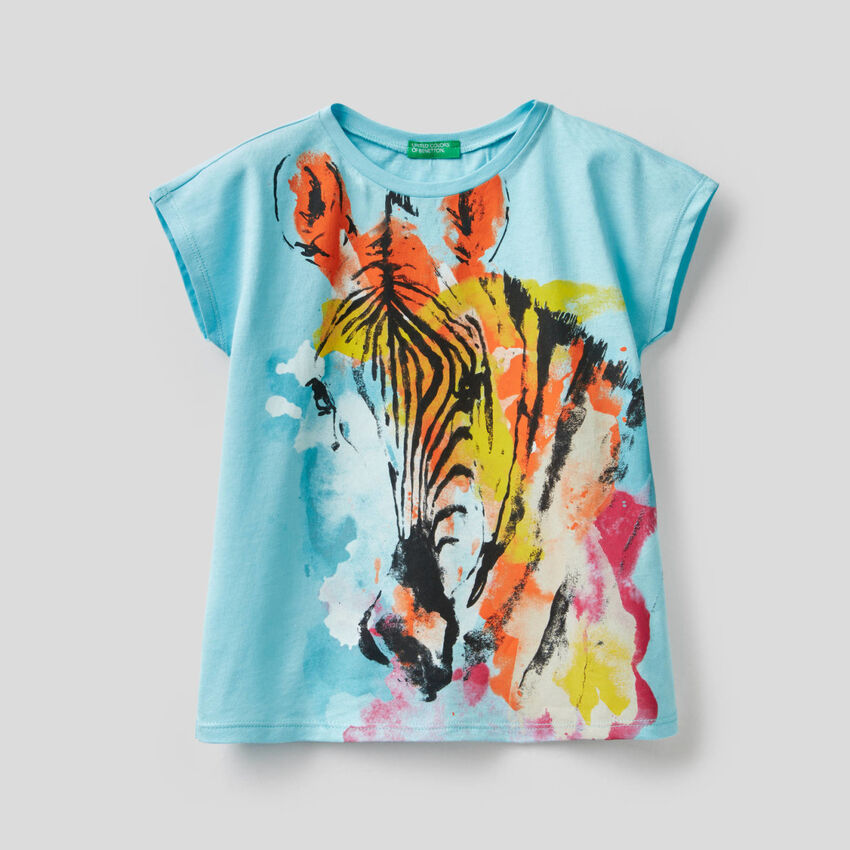 T-shirt con stampa zebra multicolor