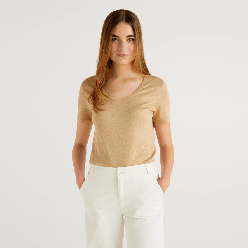 T-shirt girocollo in puro lino
