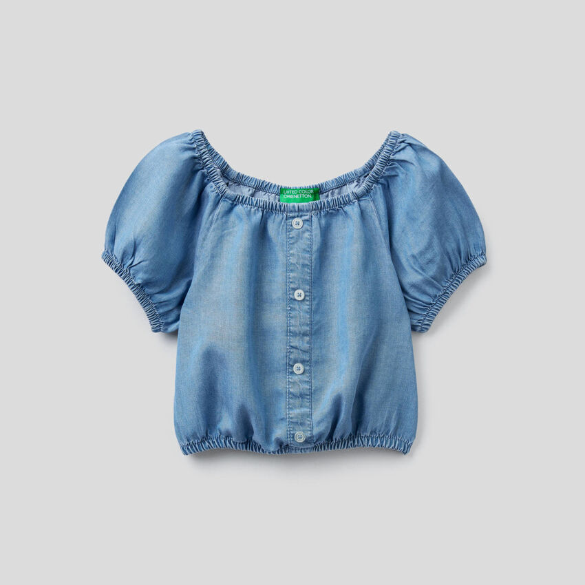 Top cropped effetto jeans