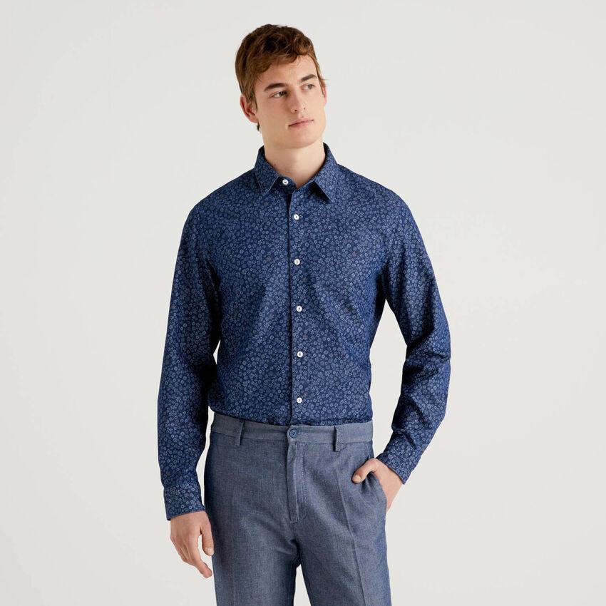 Camicia stampata in puro cotone