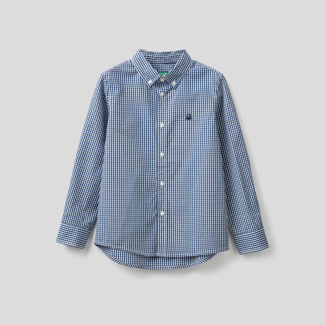 Camicia sportiva vichy in puro cotone