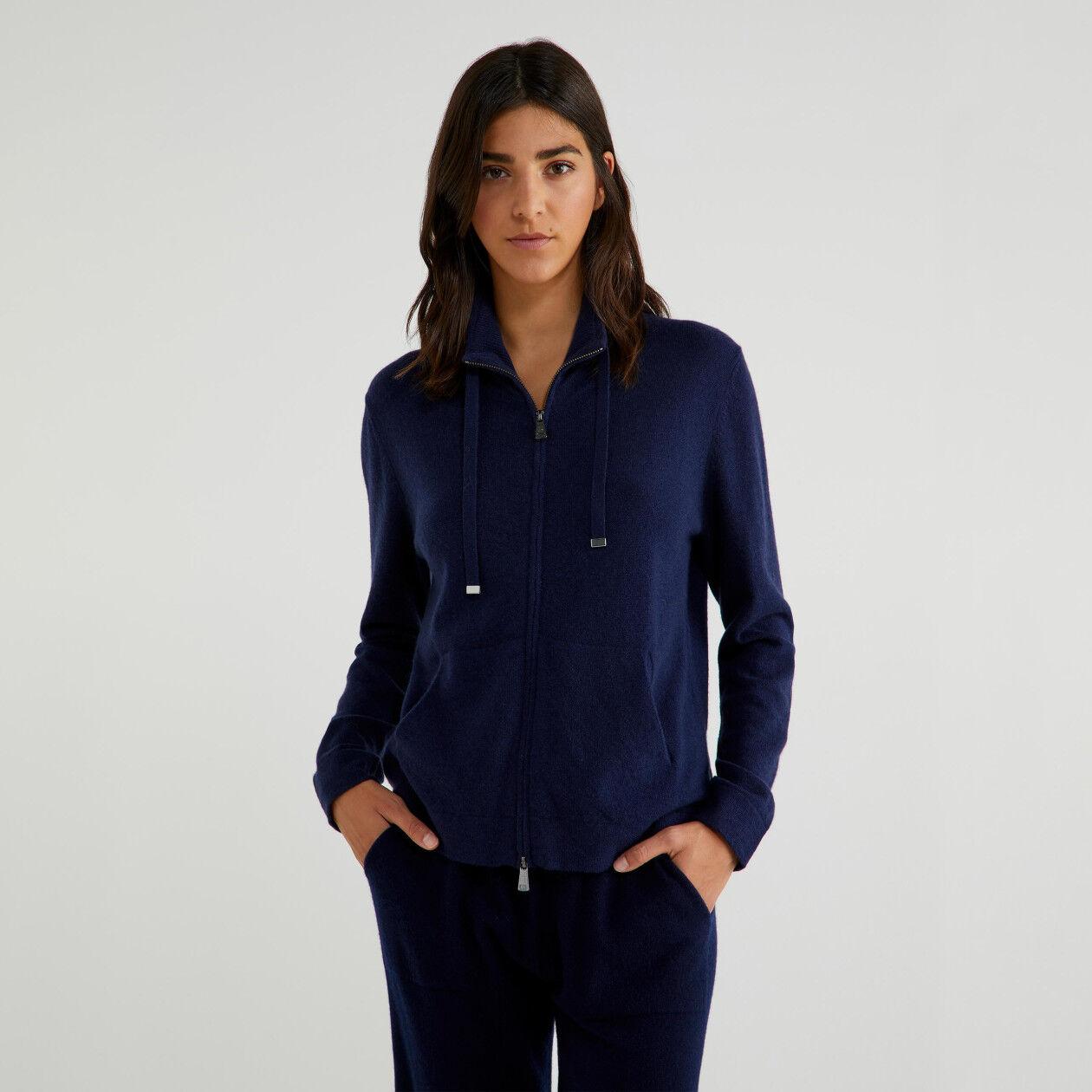 Maglia con zip in cashmere e lana vergine