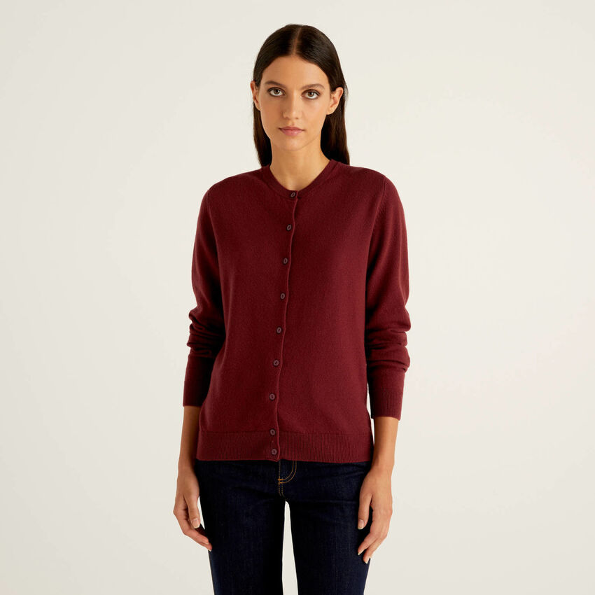 Cardigan girocollo bordeaux in pura lana vergine