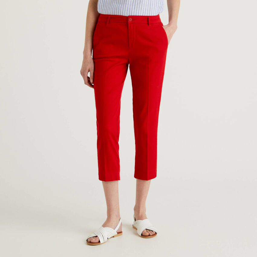 Chino cropped in cotone stretch