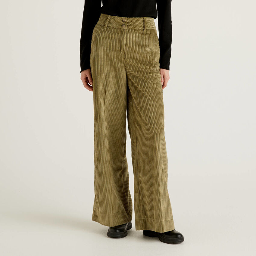 Pantaloni palazzo in velluto