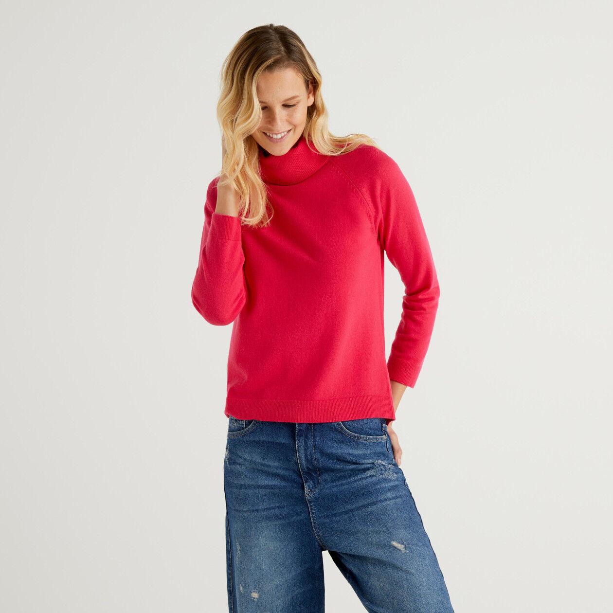 Maglione dolcevita ciclamino in misto lana e cashmere