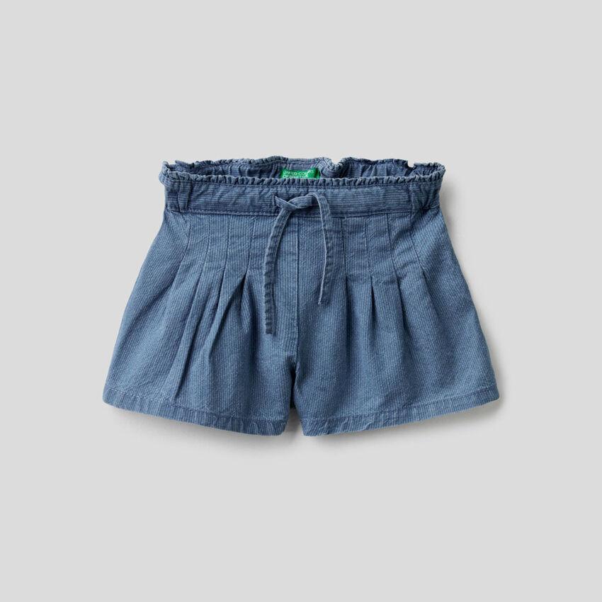 Shorts in denim rigato