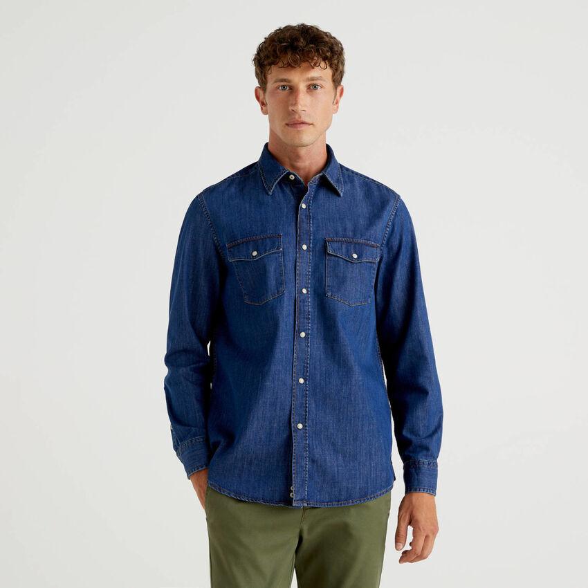 Camicia in jeans di puro cotone