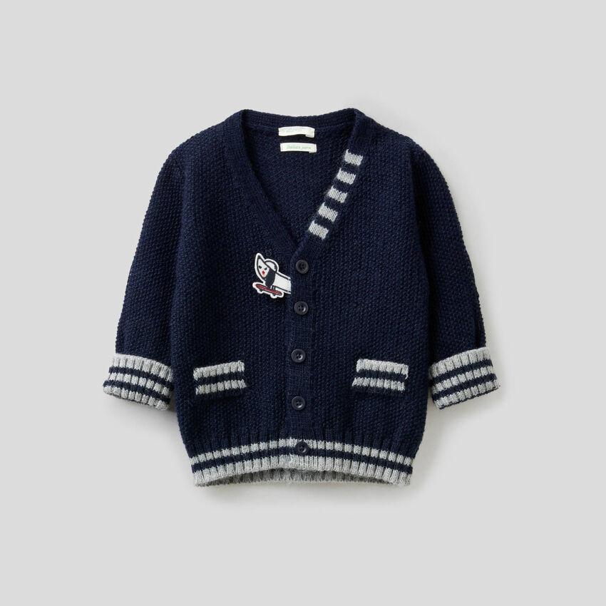Cardigan in misto lana con toppe