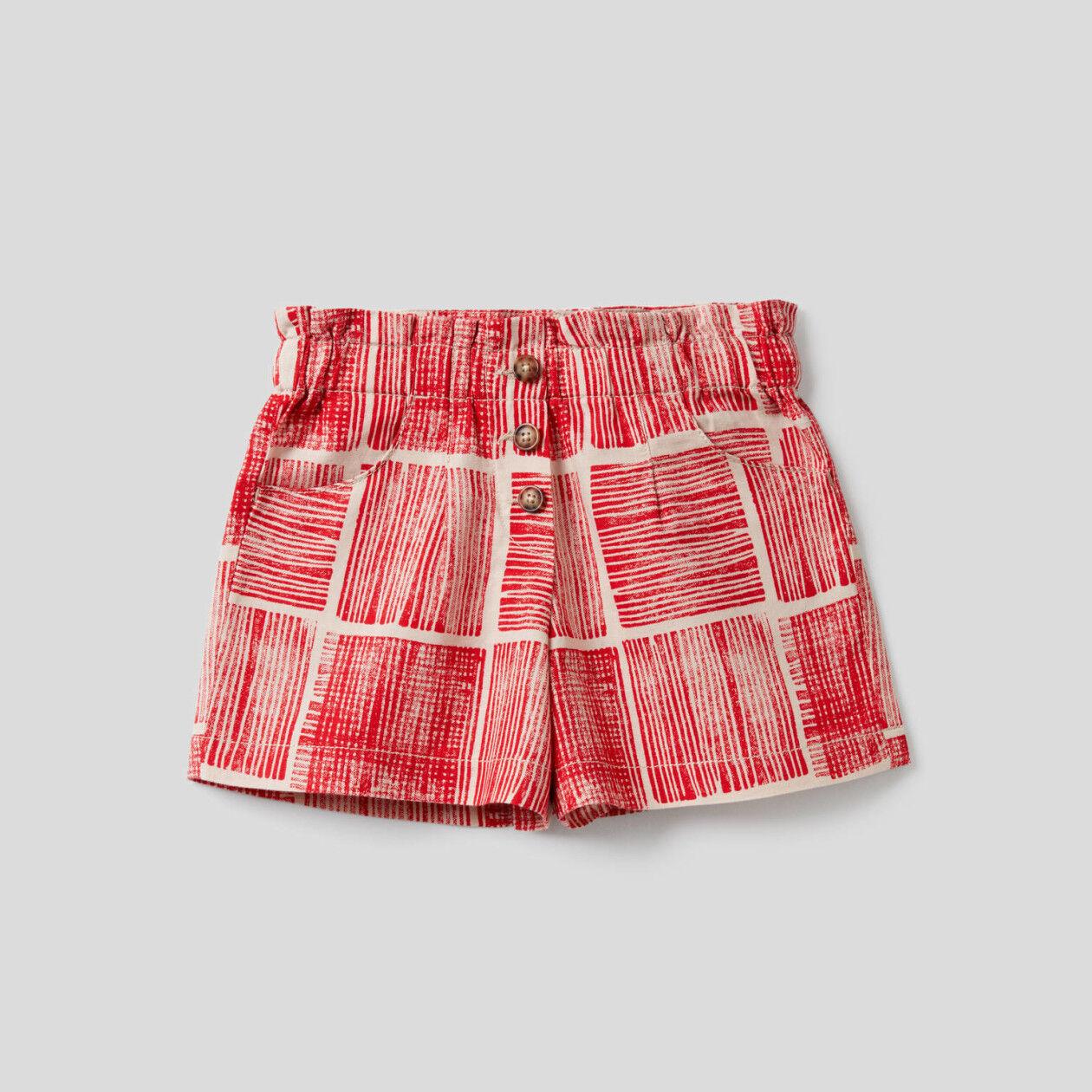 Shorts stampati in cotone misto lino