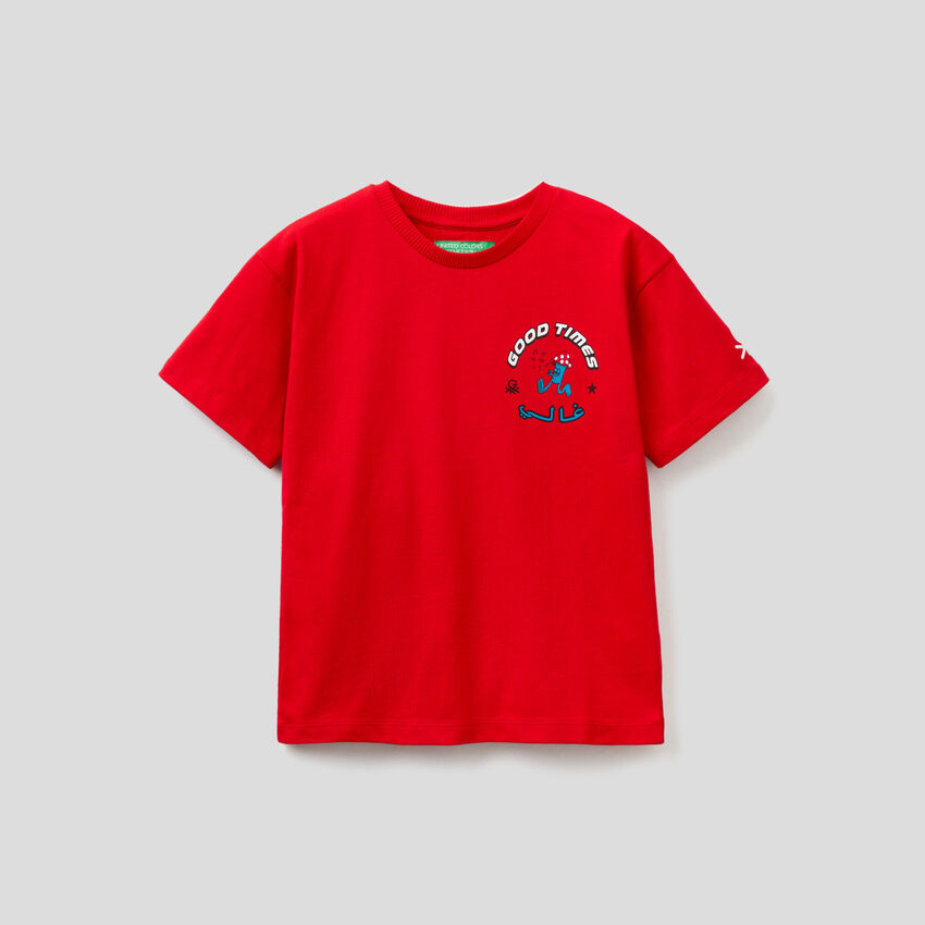 T-shirt rossa unisex con stampe by Ghali