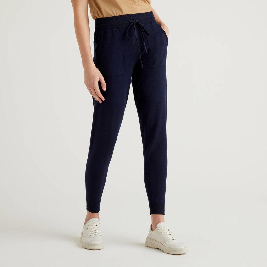 Pantaloni con coulisse in cotone tricot