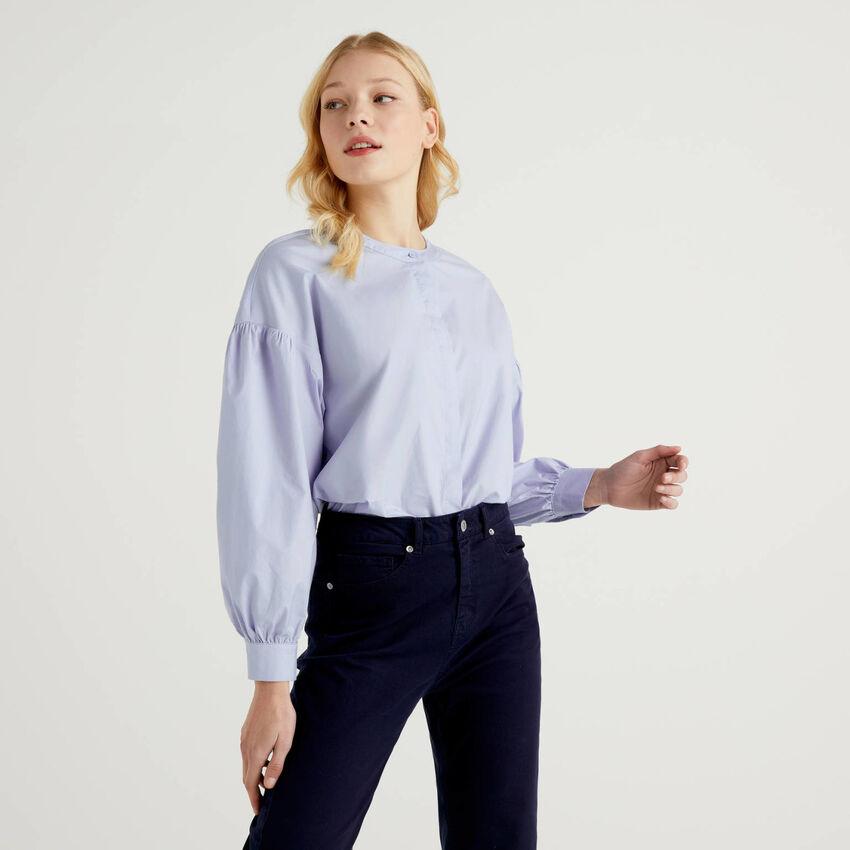 Blusa in cotone stretch con manica a palloncino