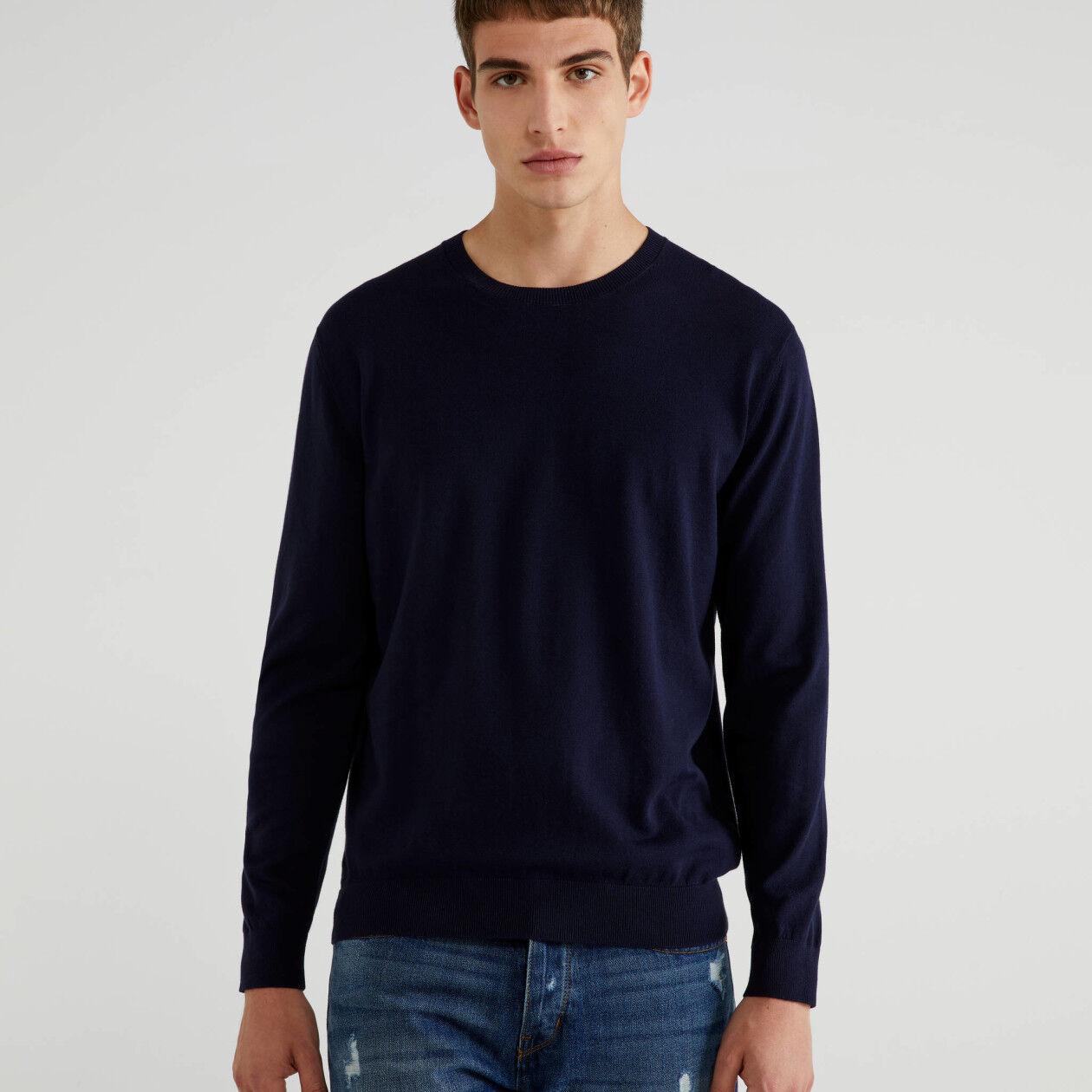 Maglia girocollo in cotone tricot