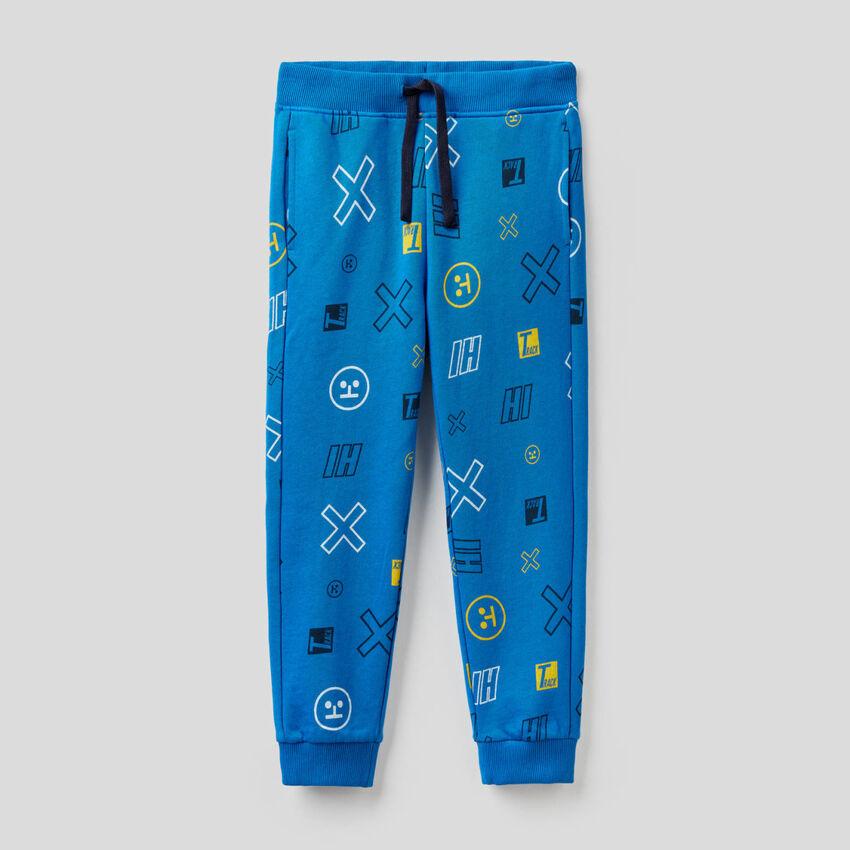Pantaloni in felpa stampa fantasia