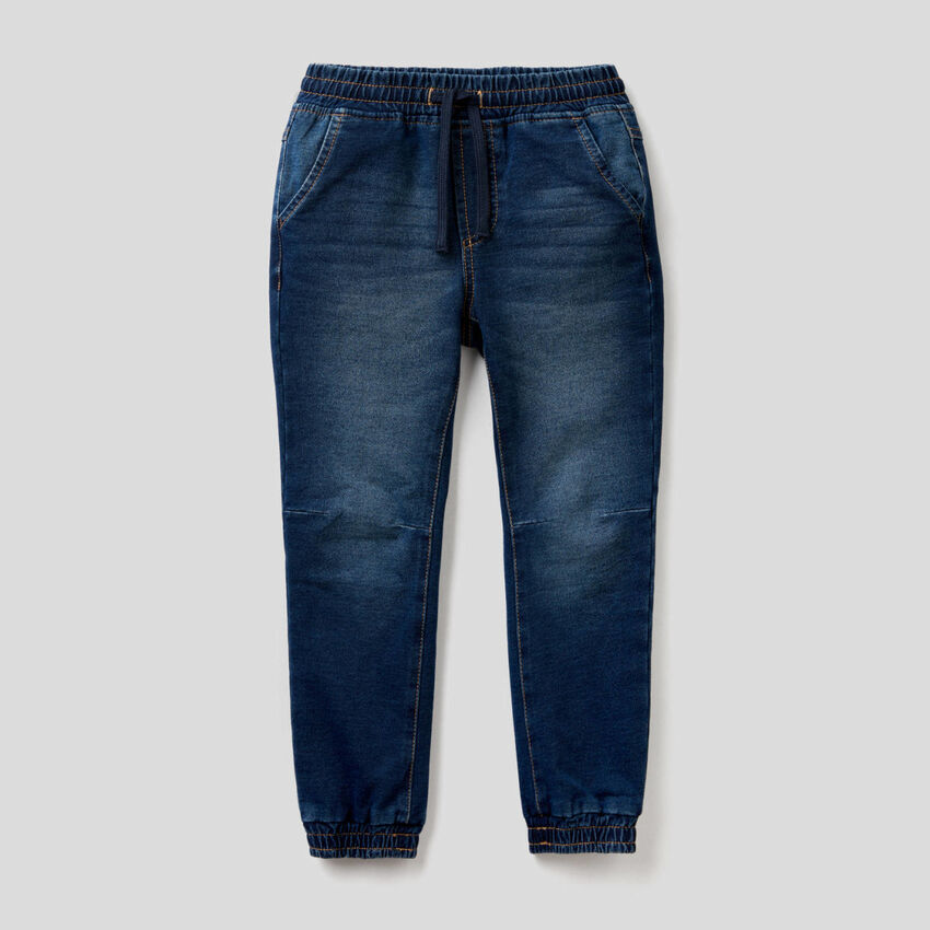 Pantaloni sportivi in felpa effetto denim