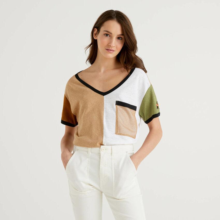 T-shirt color block in cotone misto lino