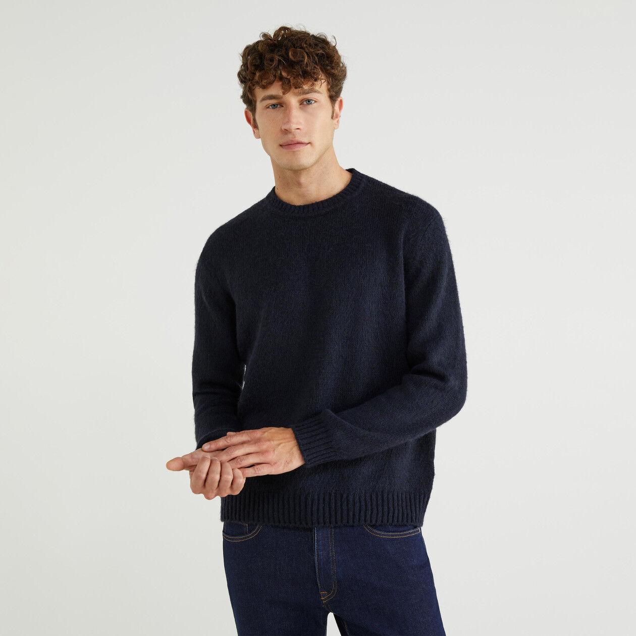 Maglia girocollo misto lana