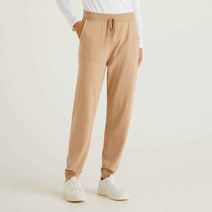 Pantalone sportivo cammello misto cashmere