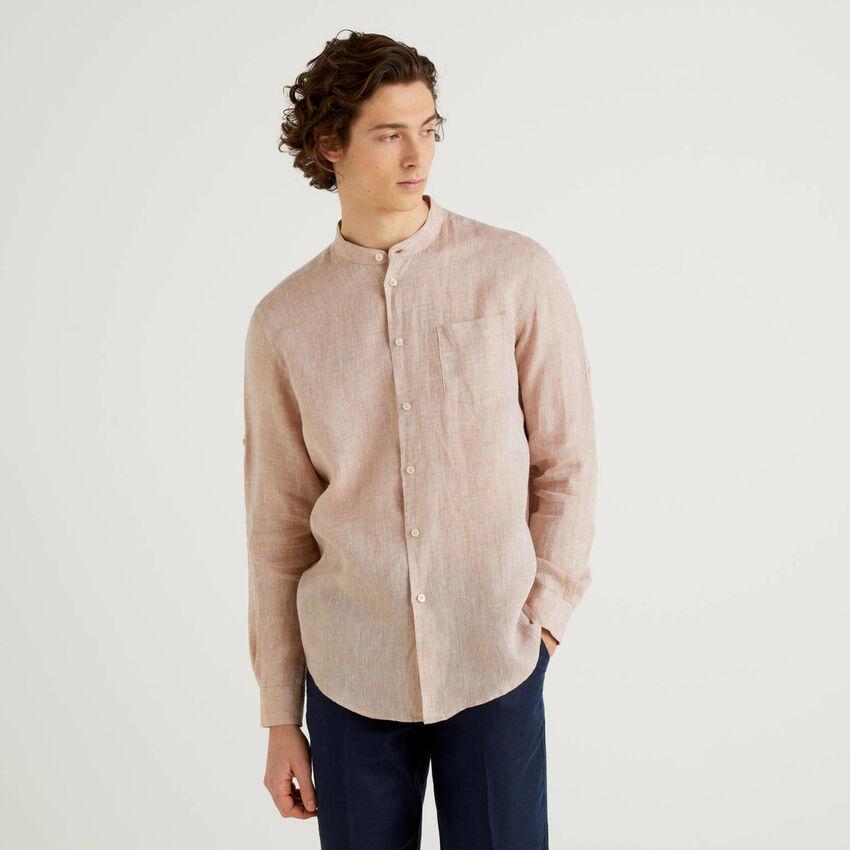Camicia in lino con collo alla coreana