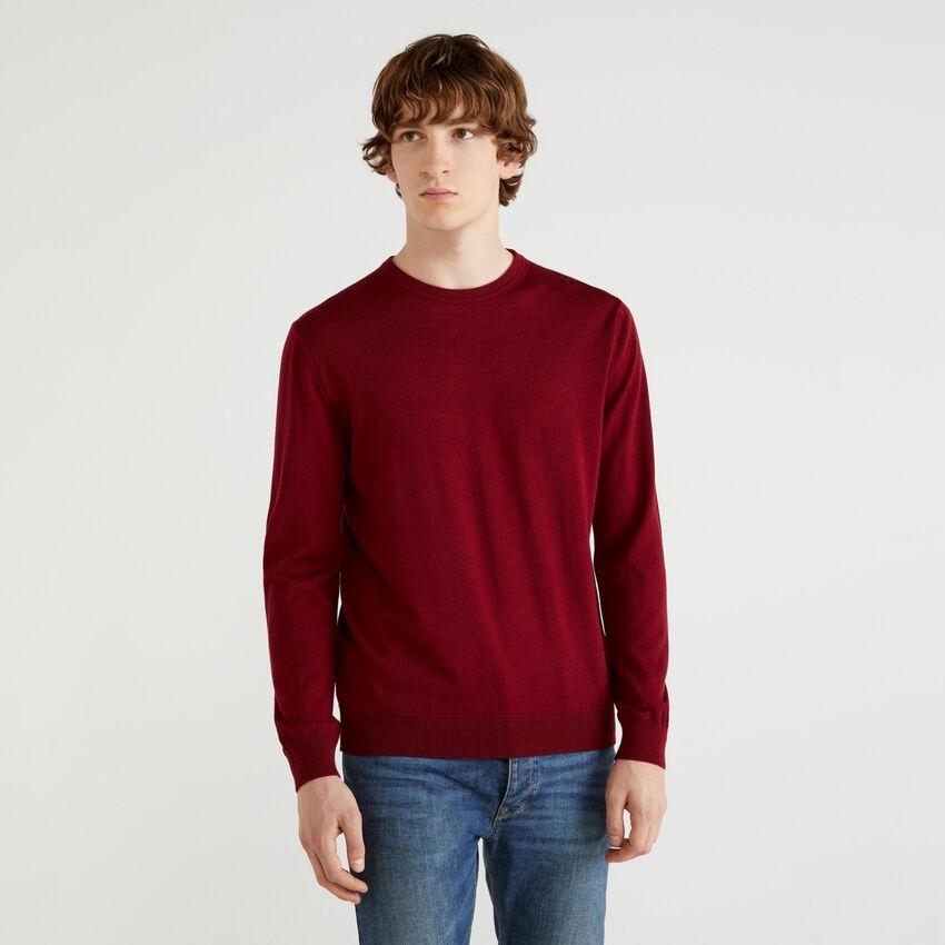 Maglia girocollo in pura lana Merino Extra Fine