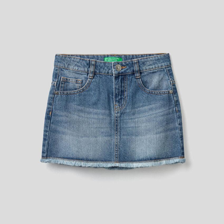 Gonna di jeans con aspetto vissuto