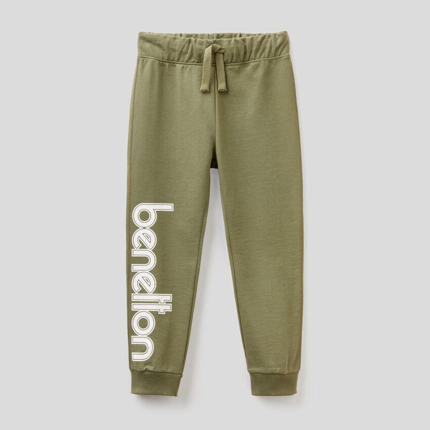 Pantaloni in felpa 100% cotone con logo