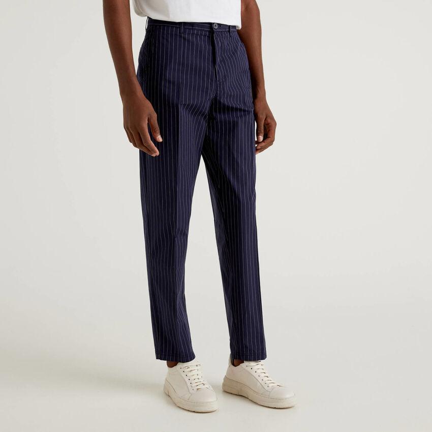 Pantaloni gessati in puro cotone
