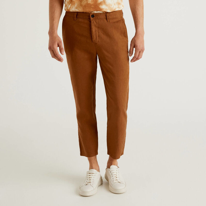 Pantaloni chino in puro lino
