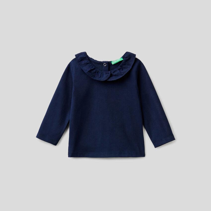 T-shirt manica lunga con colletto volant