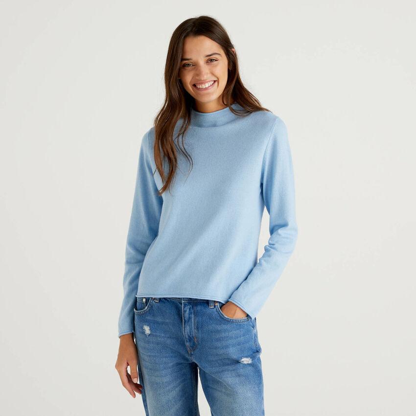 Lupetto azzurro in misto lana e cashmere
